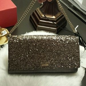 Kate Spade Gold Glitter Clutch Bag NWT